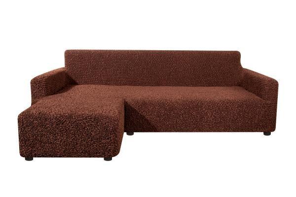 Чехол на угловой диван с выступом слева Микрофибра Черный Шоколад