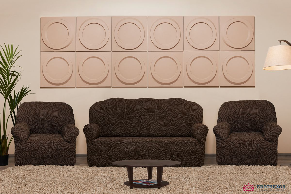 Комплект чехлов Этна Корсика на 3-х местный диван и два кресла Еврочехол 9-979