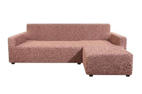 Чехол на угловой диван с правым выступом Виста Меандр коричневый