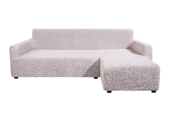 Чехол на угловой диван с правым выступом Микрофибра Жемчужный
