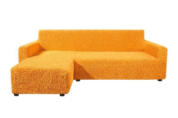 Чехол на угловой диван с левым выступом Микрофибра Охра