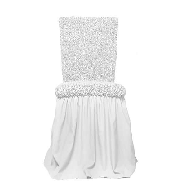 Микрофибра Белый жемчуг. Чехол на стул с юбкойМикрофибра<br><br>