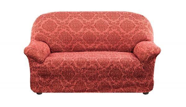 Чехол на 2-х местный диван Жаккард Ламе Красный