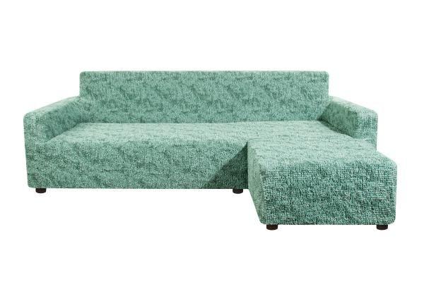 Чехол на угловой диван с правым выступом Виста Изумруд