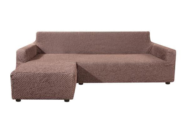 Чехол на угловой диван с выступом слева Элеганте Темно-коричневый