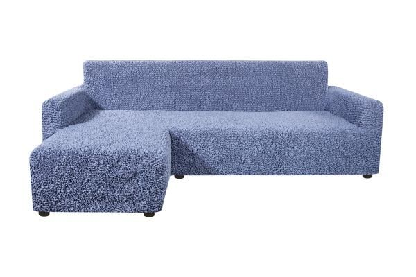 Чехол на угловой диван с левым выступом Микрофибра Пепельно-голубой