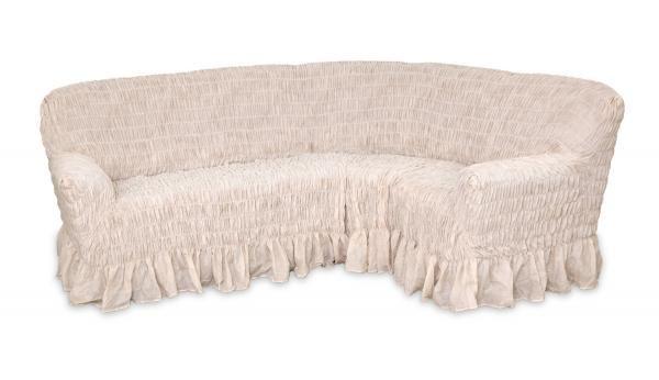 Чехол на классический угловой диван Фантазия Белый мрамор