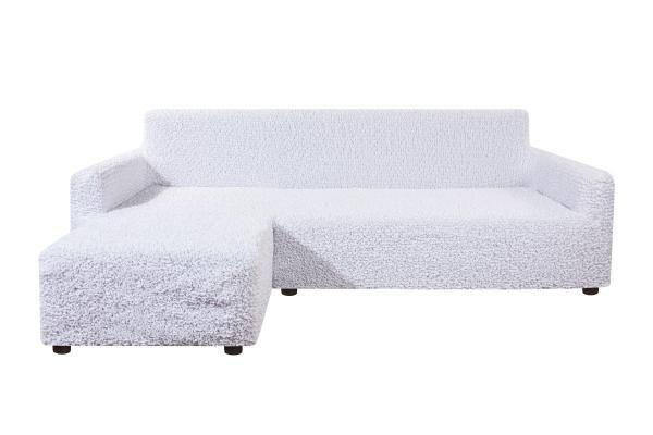 Чехол на угловой диван с левым выступом Микрофибра Белый жемчуг