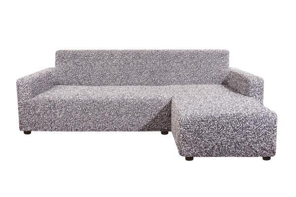 Чехол на угловой диван с правым выступом Виста Меандр серый