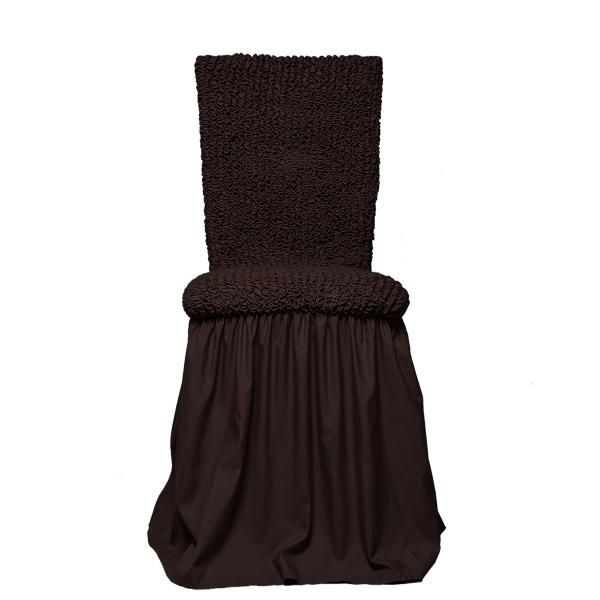 Микрофибра Черный шоколад. Чехол на стул с юбкойМикрофибра<br><br>
