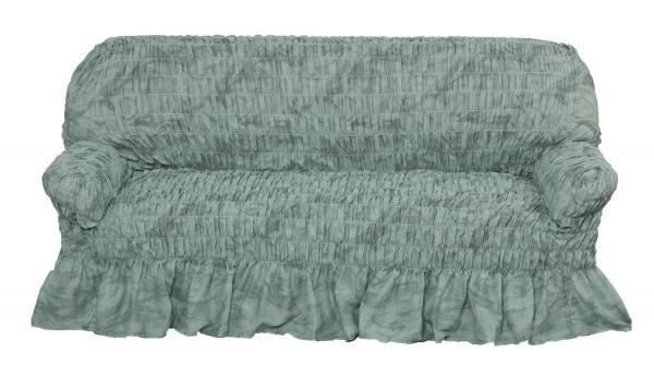 Фантазия Зеленый. Чехол на 3-х местный диванФантазия<br>Коллекция «Фантазия» - лучшее решение для романтичного дизайна интерьера. <br> <br> Чехлы этой коллекции выполнены из воздушной ткани с элегантной оборкой. Цветочные принты, спокойные пастельные тона добавят атмосфере весеннего очарования и легкости. Полиэсте...<br>