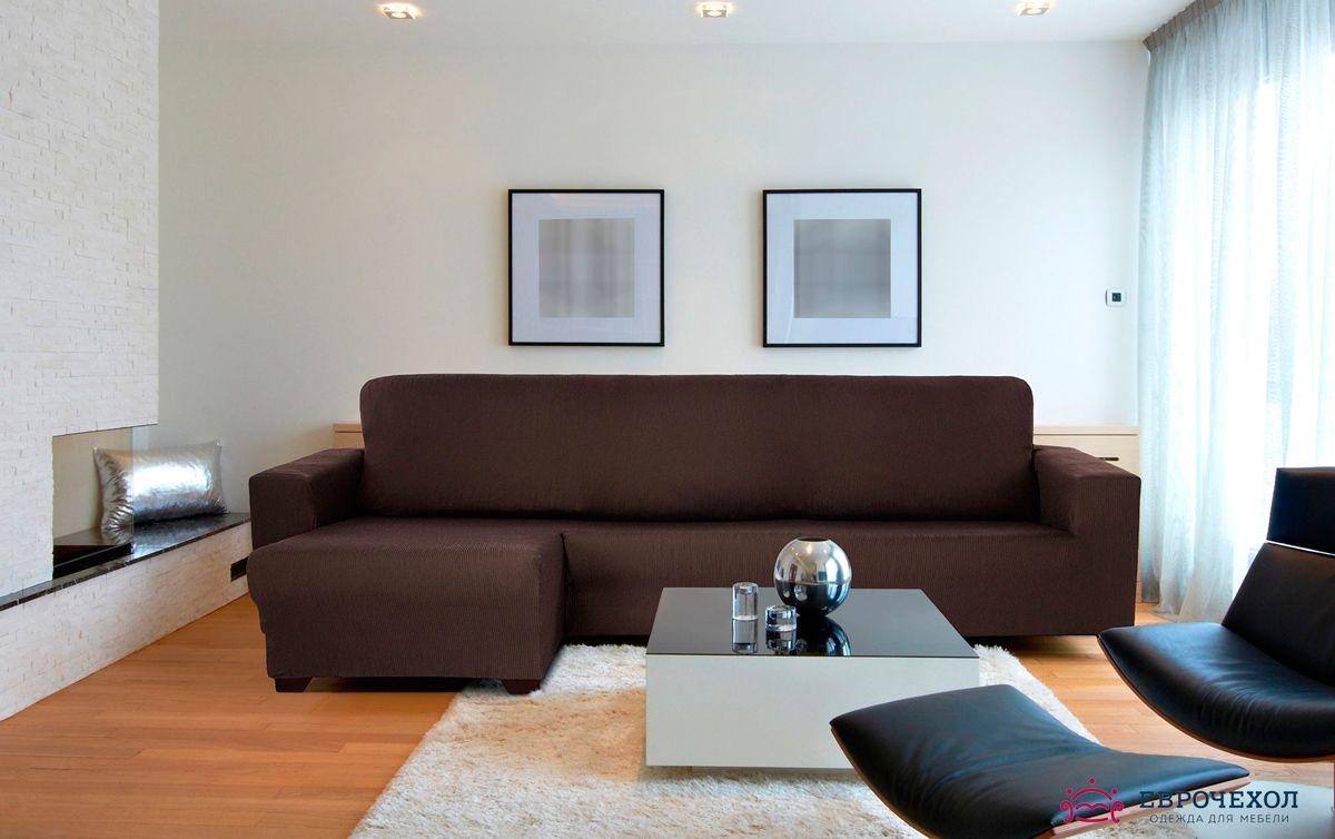Чехол на угловой диван с выступом 110-125  см Рустика Коричневый