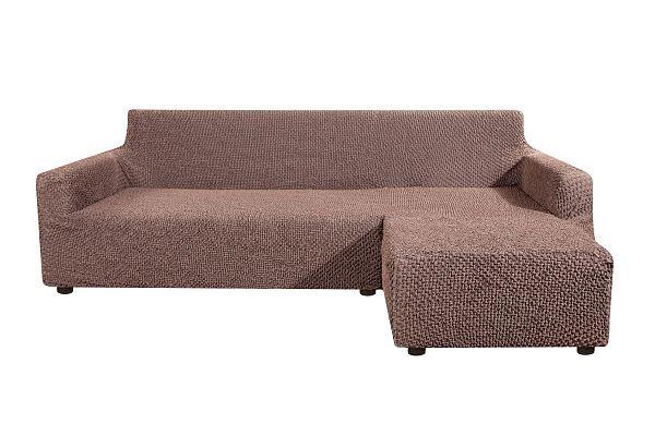 чехол на угловой диван с выступом справа элеганте темно коричневый